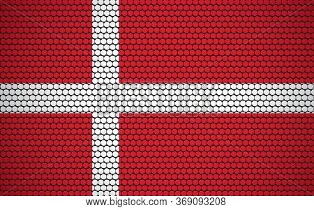 Abstract Flag Of Denmark Made Of Circles. Danish Flag Designed With Colored Dots Giving It A Modern