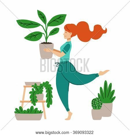 Red Haired Girl Dancing With A Flower Pot In Her Hands. A Woman Takes Care Of Houseplant. Crazy Plan