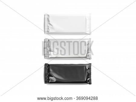Blank Black, White And Silver Chocolate Bar Foil Wrap Mockup, 3d Rendering. Empty Rectangular Candyb