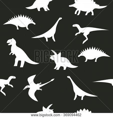 Seamless Black And White Dino Pattern. Dinosaur Silhouettes On Black Background For Textile, Print,