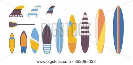Set Of Flat Surfboards For Adults, Children Vector. Different Types And Variations Of Shape, Length