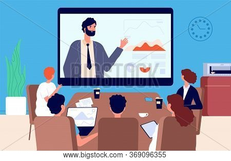 Online Conference. Business Meeting, Communication With Superiors Or Team Leader Via Video. Isolatio
