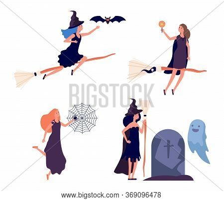 Witches Characters. Cute Woman Flies On Broomstick. Halloween Fairy Tale People. Girl With Spiders,