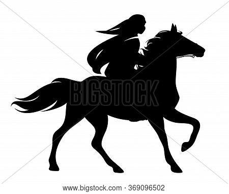 Arab Rider Wearing Tradtional Head Scarf Riding Beautiful Stallion - Man And Horse Black And White V