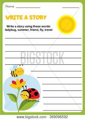 Insects Theme Writing Prompt For Kids Blank. Educational Children Page. Develop Fantasy And Compose