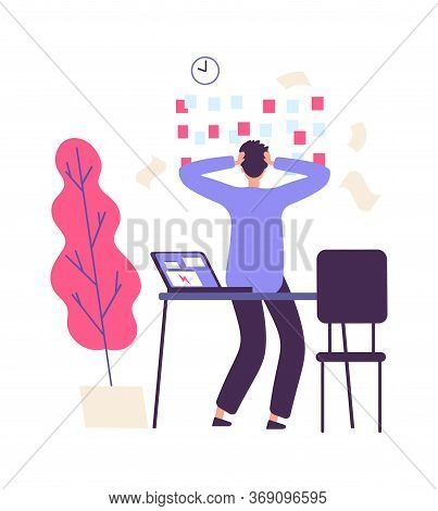 Deadline And Manager. Unorganized Working Process. Flat Style Man At Work In Office Lot Tasks. Busin