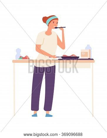 Housewife On Kitchen. Woman Cooking, Flat Girl Tastes Food. Isolated Female Chef Make Dinner. Happy