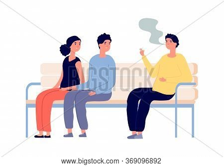 Smoking In Public Place. Man Smoker, Couple Are Passive Smokers. Drug Or Nicotine Addiction, People