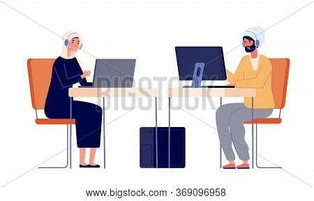 Call Center Operators. Woman Man Customer Service, Office Managers. Employee At Desk With Headphone,