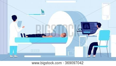 Magnetic Resonance Imaging. Mri Equipment, Doctor And Patient In Tomography Machine. Hospital Radiol