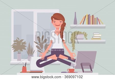 Office Worker Meditating For Relaxation, Yogi Woman Practicing Yoga At Workplace, Doing Padmasana Po