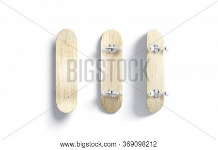 Blank Wood Skateboard Mockup, Front And Back Side, 3d Rendering. Empty Wooden Timber For Urban Skati