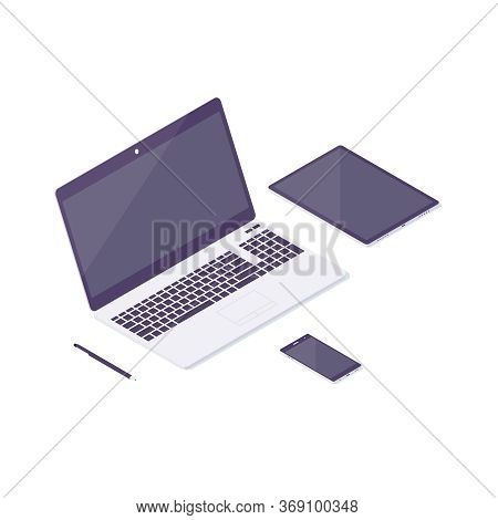 Isometric Computer Laptop Tablet Phone Design Flat Notebook Web Technology Pc Digital Icon Vector Il