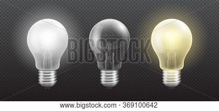 Realistic Detailed 3d Light Bulb Set On A Transparent Background. Vector Illustration Of Incandescen