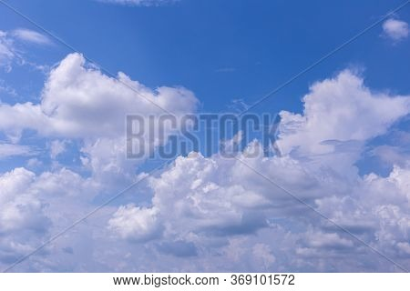 The Vast Blue Sky And Clouds Sky On Sunny Day. Blue Sky Background With Tiny Clouds.