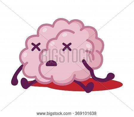 Dead Brain, Funny Human Nervous System Organ Cartoon Character Vector Illustration On White Backgrou