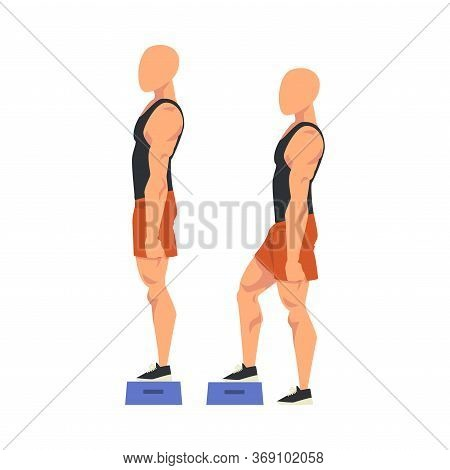 Man Doing Exercise Using Steps Platform In Two Steps, Male Athlete Doing Sports For Fit Body, Buttoc