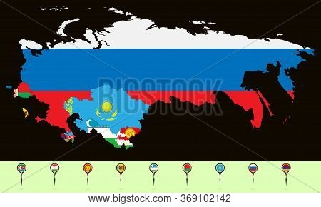 Vector Illustration. Map Of The Commonwealth Of Independent States (cis). Set Creative Markers With