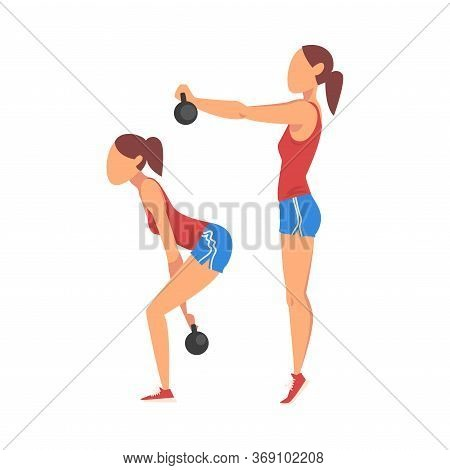 Woman Doing Squats With Kettlebell In Two Steps, Girl Doing Sports Firming Her Body, Buttock Workout