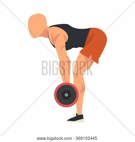 Man Doing Exercise With Barbell, Side View Of Male Athlete Doing Sports For Fit Body, Buttock Workou