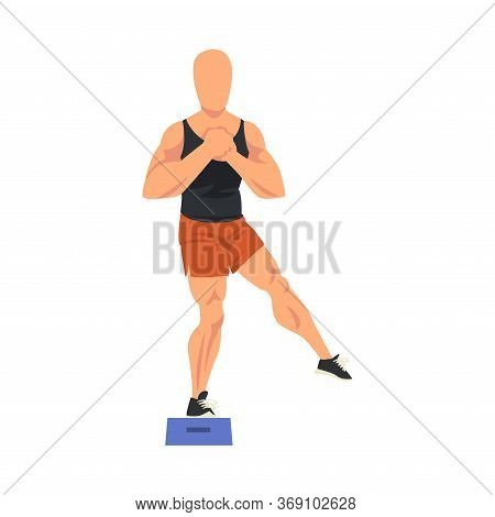 Man Doing Glute Exercise Using Steps Platform, Male Athlete Doing Sports For Fit Body, Buttock Worko