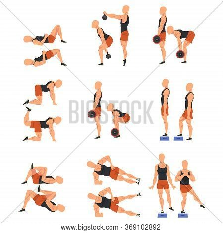 Male Athlete Doing Sports For Fit Body, Buttock Workout Vector Illustration Isolated On White Backgr