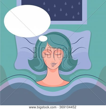 Woman Or Transgender Sleeping On A Bed In Hospital And Dreams. Illustration, Poster, Banner For Psyc