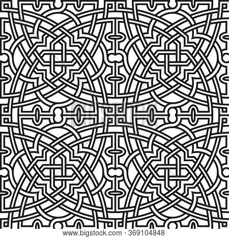 Seamless Pattern. Orient Style Ornament. Vector Background.
