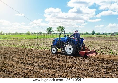 A Farmer On A Tractor Mills The Soil With A Milling Machine Equipment. Growing Vegetables. Ground Cr