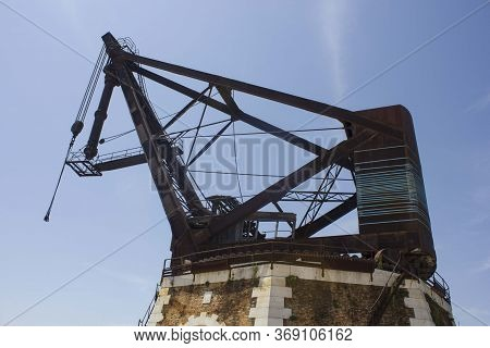 Venice, Italy - May 28 2016: Detail Of A Nautical Lifting Crane In Venice Arsenal