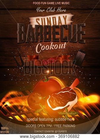 Bbq Party Invitation With Grill, Food Elements And Fire On Wooden. Barbecue Poster. Food Flyer. Vect