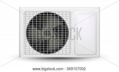 Air Conditioner System Outdoor Element Vector. External Block With Ventilator Propeller Of Condition