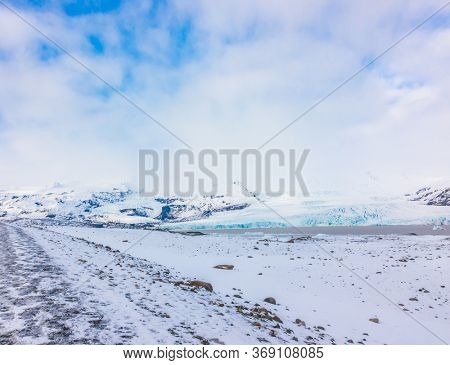 Snow covered mountain Iceland winter season