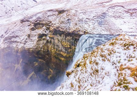 Beautiful famous waterfall in Iceland,winter season