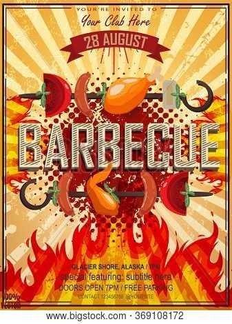 Bbq Party Invitation With Grill, Food Sketches Elements And Fire On Grunge Yellow. Barbecue Poster.