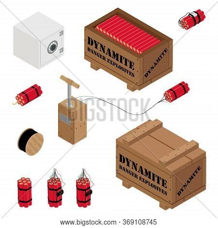 Blasting Machine Or Detonator Box, Safe, Dynamite Sticks And Black Wire Electric Cable Reel Isolated