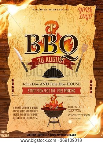 Bbq Party Invitation Template On Yellow Pattern With Grunge. Summer Barbecue Weekend Flyer. Grill Il