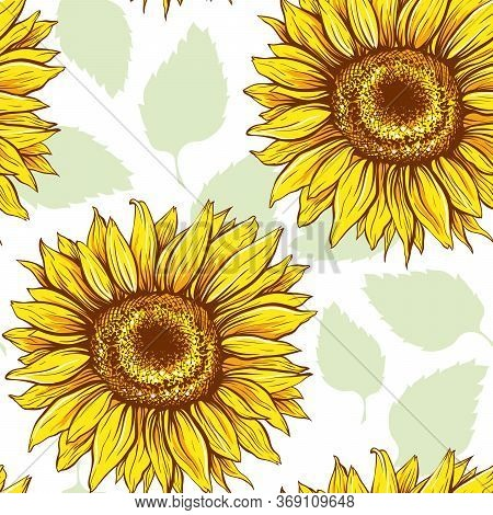 Sunflowers Field Seamless Vector Pattern For Fabric Textile Design. Flat Colors, Easy To Print. Line