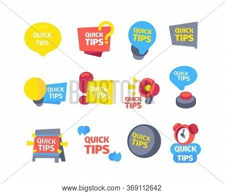 Tips Quick Set. Hints Useful Tips Color Banners Alarm Clock Ringing Megaphone Message Board Red Butt