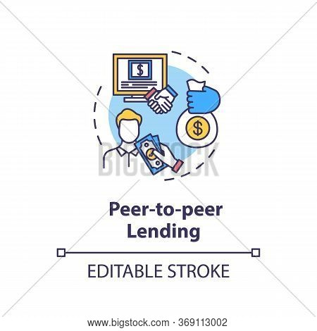 Peer To Peer Lending Concept Icon. Campaign To Raise Money. Online Crowd Funding For Business Projec