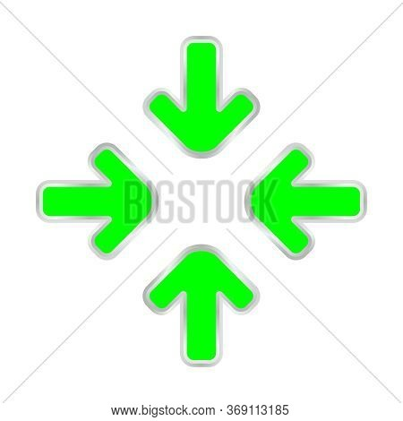 Green Expand Arrow Icon Isolated On White, Arrows Pointing Zoom In, Expand Arrow Icon For Resizes, D
