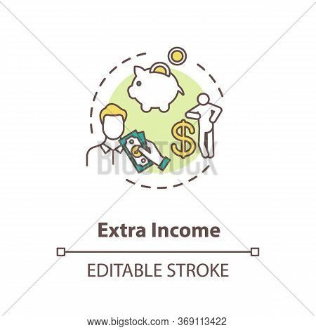Extra Income Concept Icon. Investment To Make Additional Earning. Revenue For Employee. Successful M