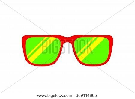 Fashion Glasses Red Green Isolated On White For Copy Space, Clip Art Glasses Single Flat Top View, F