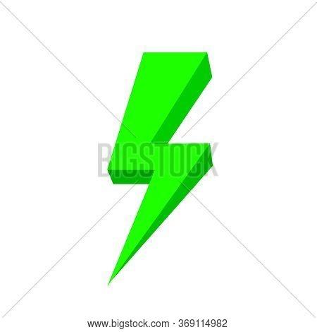 Green Thunder Icon Isolated On White, Thunder Storm Symbol Green Flat Lay, Clip Art Thunder, 3d Thun