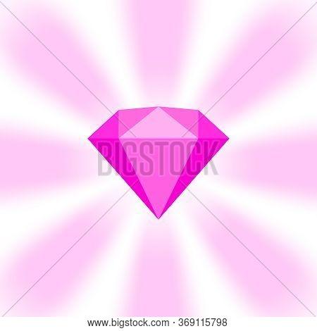 Pink Diamond Gemstone On Zoom Comics, Pink Flat Diamonds Jewelry Icon, Pink Gems On Soft Rays Burst