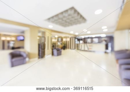 Blurred Photos Of Interior Lobby Reception Brightly Lit By A Lamps