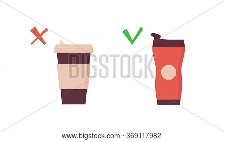 Reusable Tumbler Vs Disposable Cup. Takeaway Coffee Mug On Zero Waste Poster. Vector Illustration In