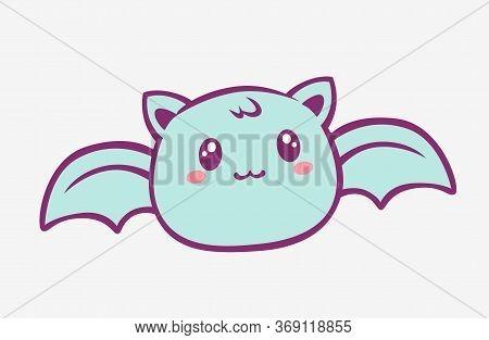 Kawaii Bat Cartoon. Enthusiastic Funny Little Blue