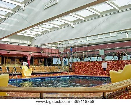 On The Baltic Sea  - June 1, 2009: Swimming Pool On Board The Cruise Ship Costa Magica Of The Shippi