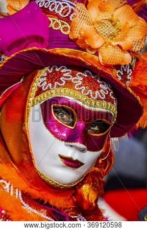 Venice, Italy - February 9, 2013: Unidentified Person With Venetian Carnival Mask In Venice, Italy.